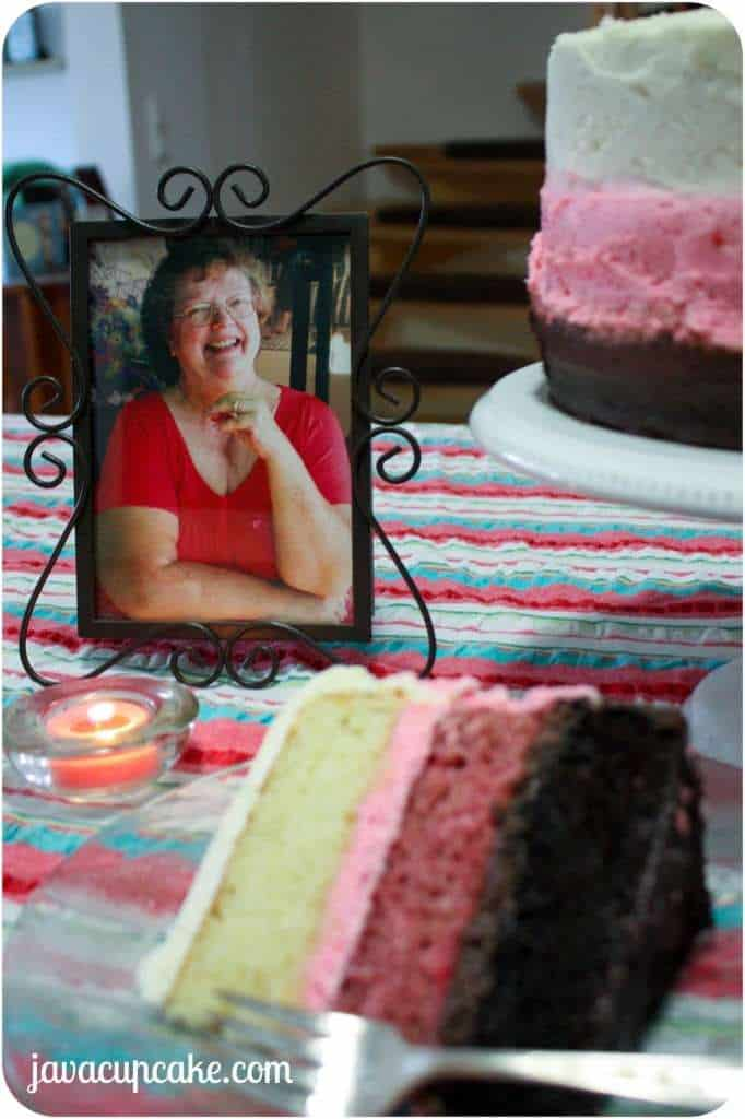 Mother's Day Neapolitian Cake by JavaCupcake.com