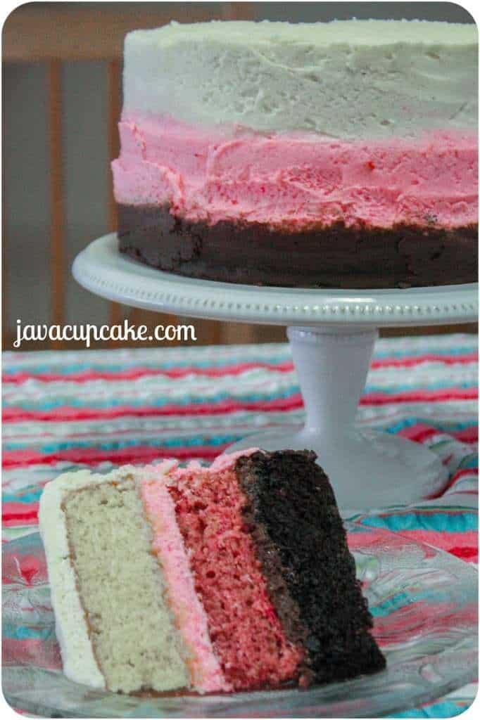 Neapolitan Cake by JavaCupcake.com