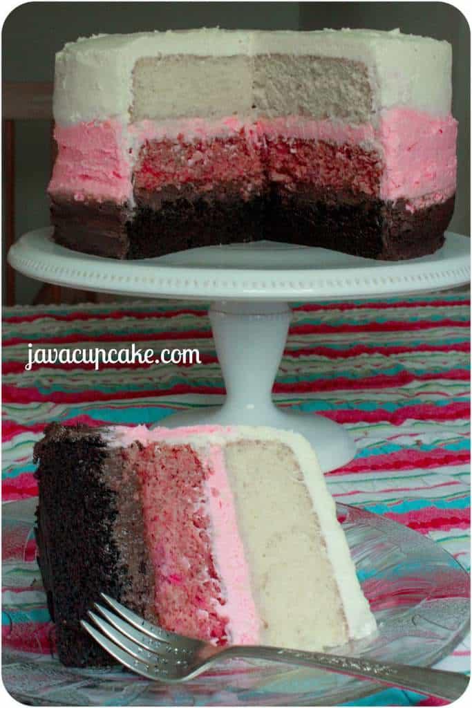Neapolitian Cake by JavaCupcake.com