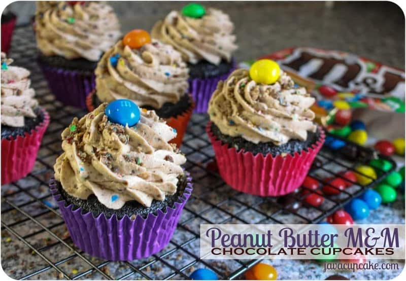 Peanut Butter M&M Chocolate Cupcakes by JavaCupcake.com
