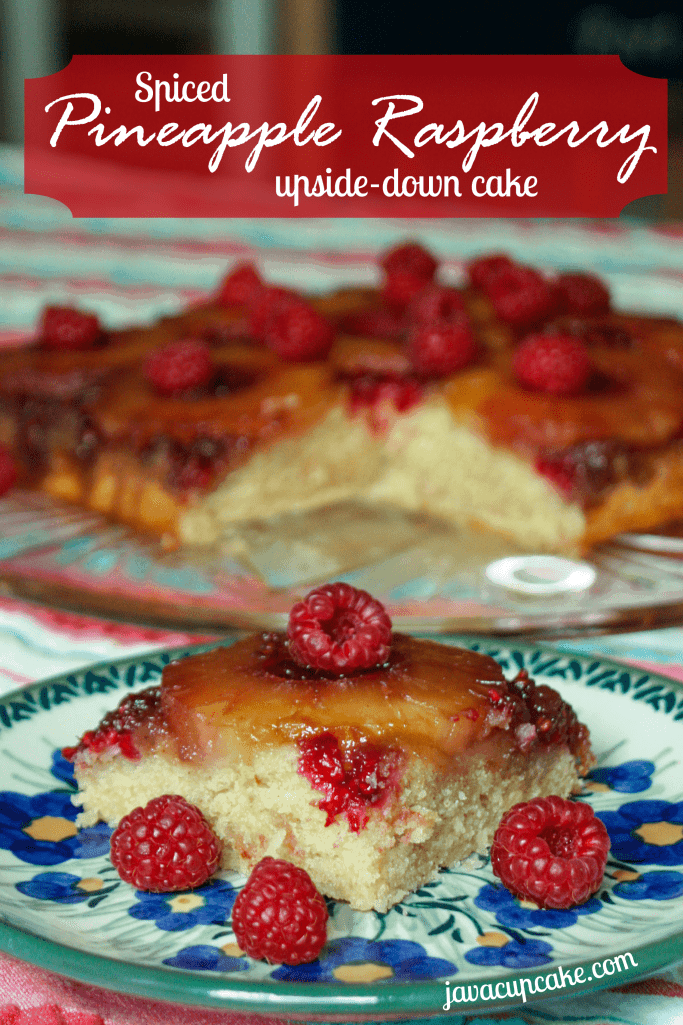 Spiced Pineapple Raspberry Upside Down Cake by JavaCupcake.com
