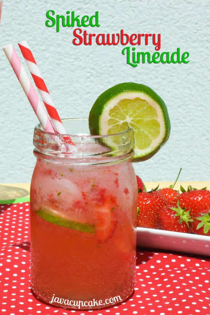 Spiked Strawberry Limeade by JavaCupcake.com