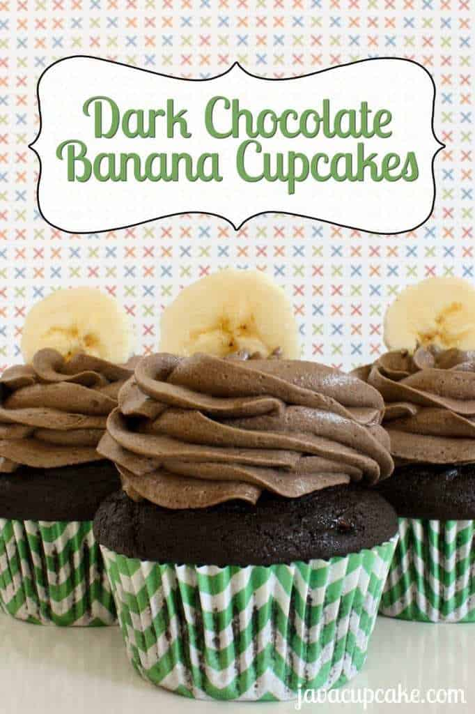 Dark Chocolate Banana Cupcakes by JavaCupcake.com