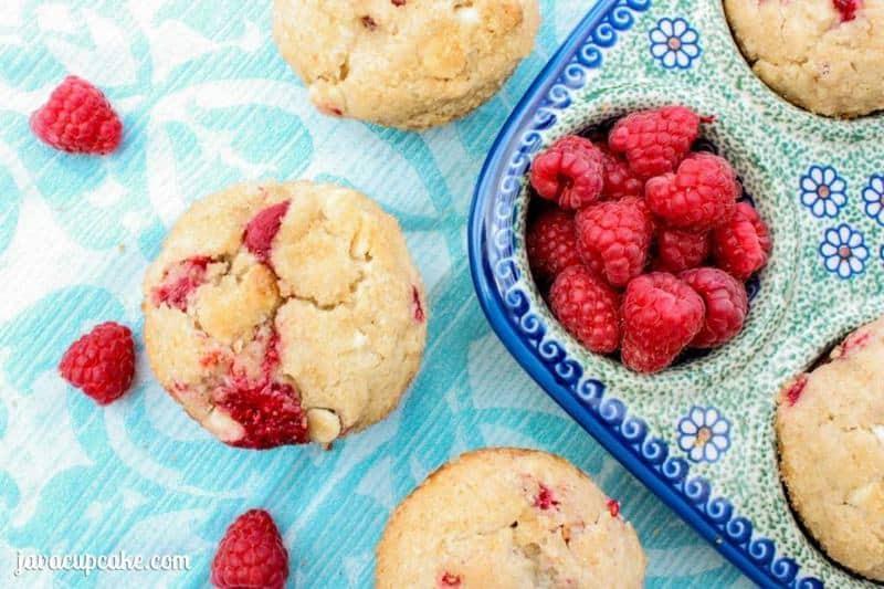 Fresh Raspberry White Chocolate Muffins by JavaCupcake.com