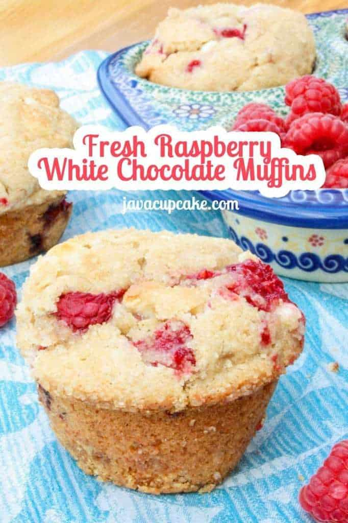 Fresh Raspberry White Chocolate Muffins by JavaCupcake.com