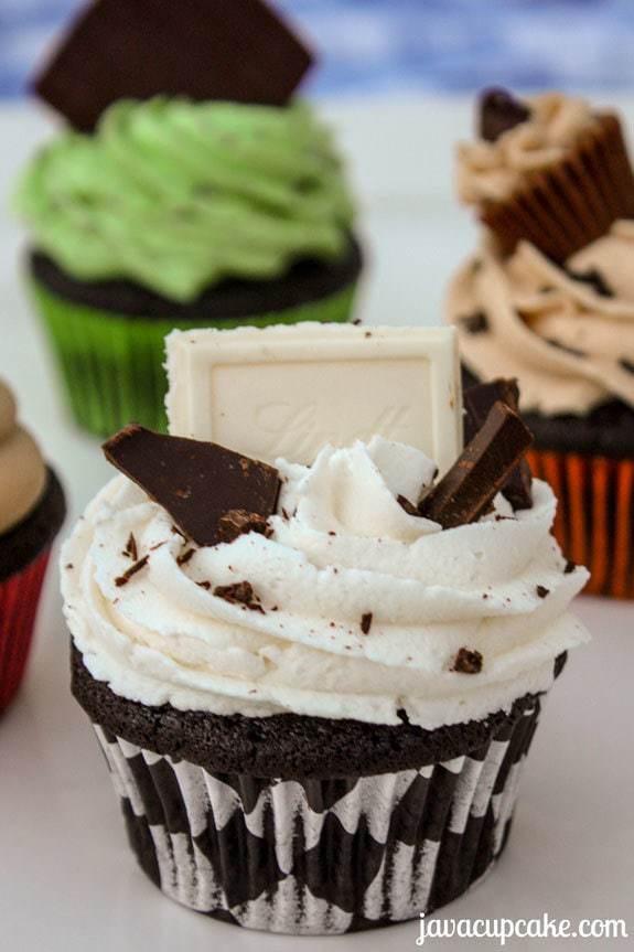 Black & White Cupcakes - dark and white chocolate - by JavaCupcake.com