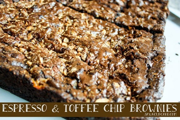 Espresso and Toffee Chip Brownies by JavaCupcake.com
