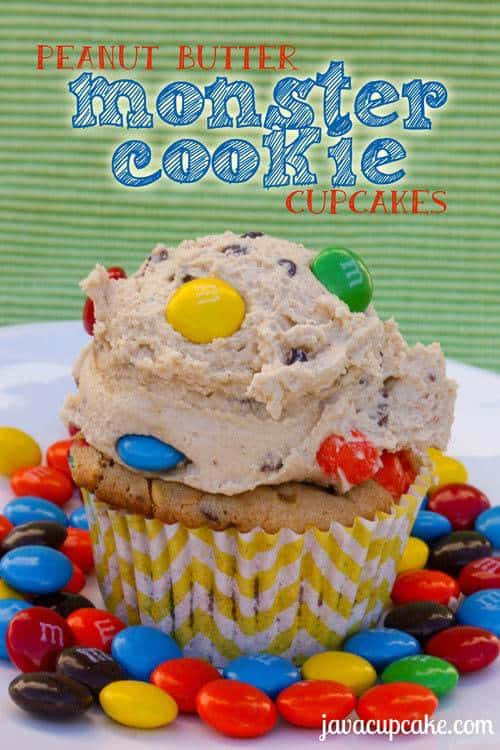 Peanut Butter Monster Cookie Cupcakes by JavaCupcake.com