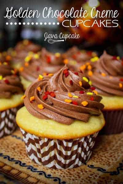 Golden Chocolate Creme Cupcakes inspired by the OREO with the same name!   JavaCupcake.com