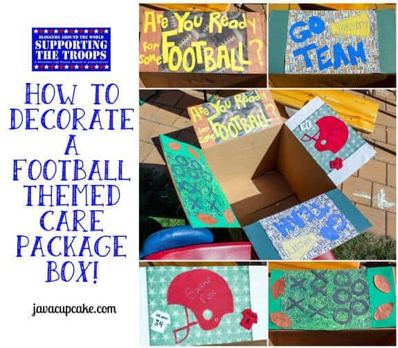 How to Decorate a Football Themed Care Package Box by JavaCupcake.com