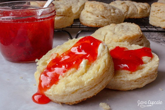 Buttermilk Biscuits with Homemade Strawberry Jam | JavaCupcake.com