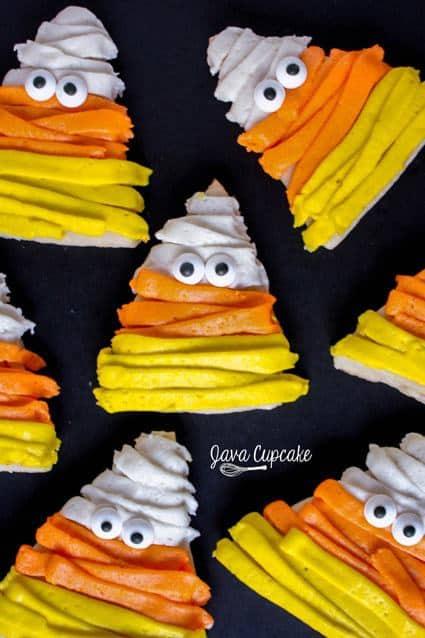 Candy Corn Mummy Sugar Cookies | JavaCupcake.com