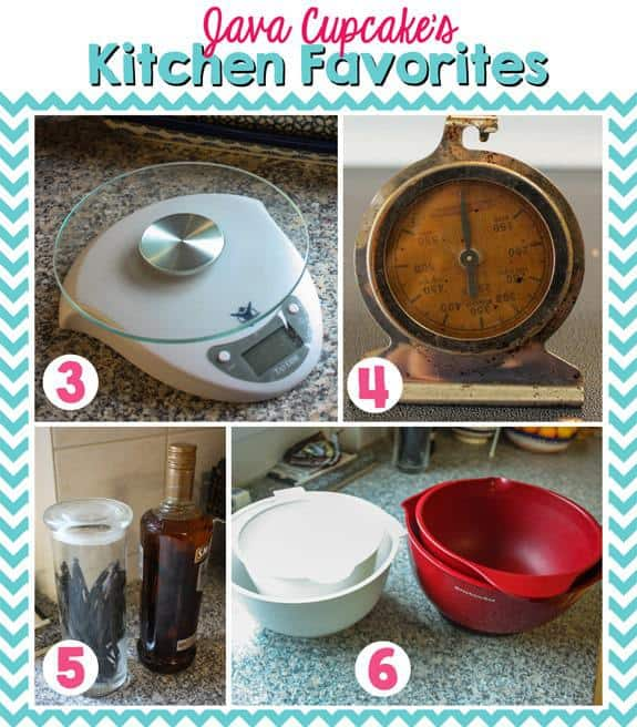 Java Cupcake's Kitchen Favorites - Kitchen scale, oven thermometer, homemade vanilla, and mixing bowls