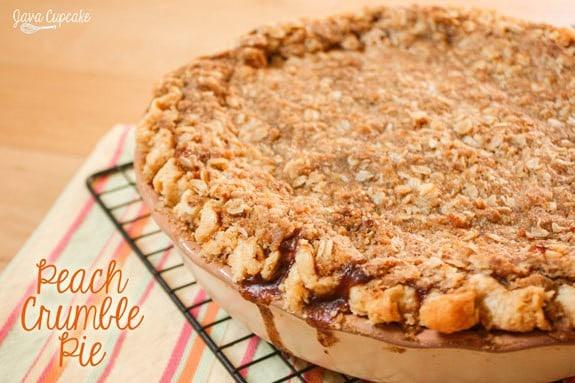 Peach Crumble Pie   JavaCupcake.com