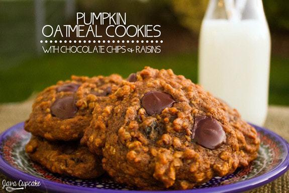 Pumpkin Oatmeal Cookies with Chocolate Chips & Raisins   JavaCupcake.com