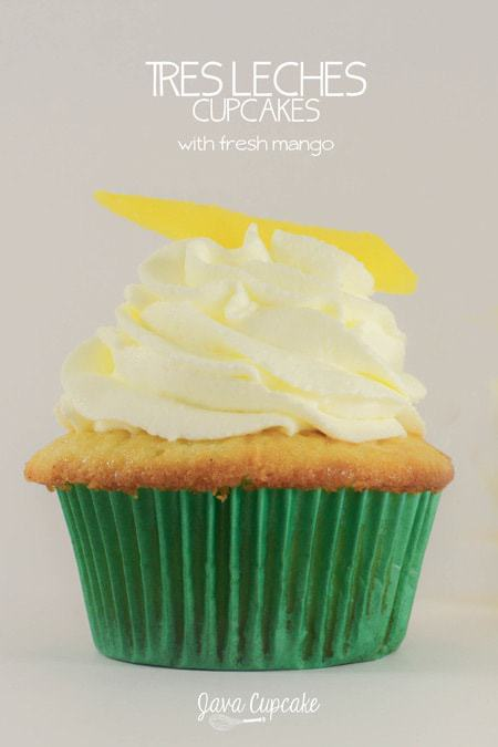 Tres Leches Cupcakes with Fresh Mango | JavaCupcake.com
