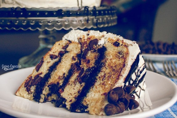 Chocolate Chip Fudge Cake | JavaCupcake.com
