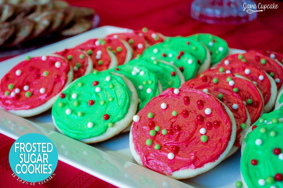 Holiday Frosted Sugar Cookies #12DaysOfCookies | JavaCupcake.com