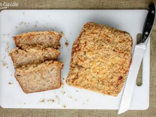Peanut Butter Banana Bread with Streusel Topping | JavaCupcake.com