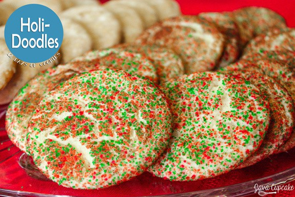 Holi-Doodles - A twist on the traditional snickerdoodle, these cookies are ready for the holidays in green & red sugar crystals! | JavaCupcake.com