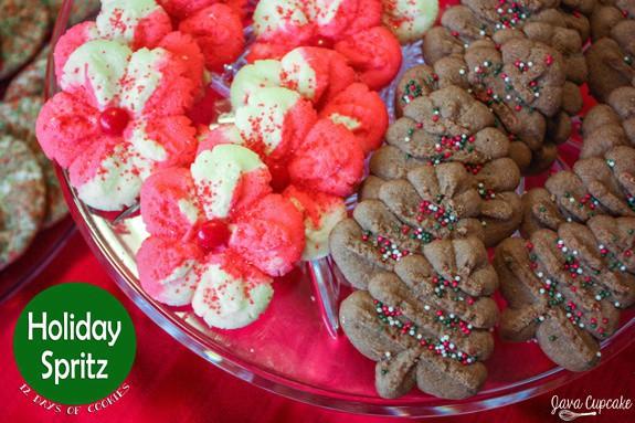Holiday Spritz Cookies - Peppermint & Chocolate | JavaCupcake.com