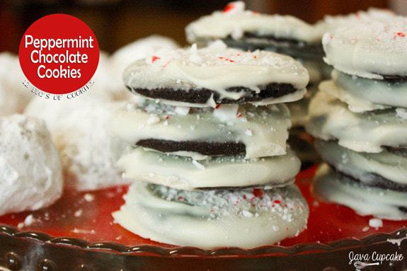 Peppermint Chocolate Cookies - peppermint & chocolate cookie covered in white chocolate and sprinkled with crushed peppermint candies | JavaCupcake.com