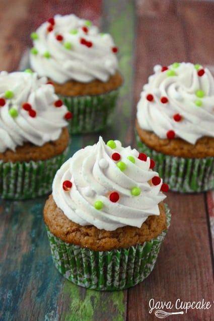Sweet Potato Cupcakes with Marshmallow Frosting   JavaCupcake.com
