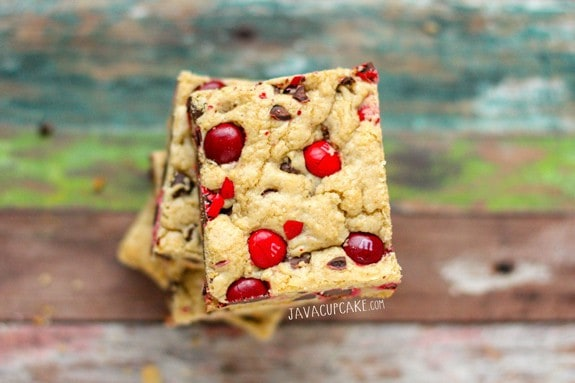 Cherry M&M Cookie Bars | JavaCupcake.com
