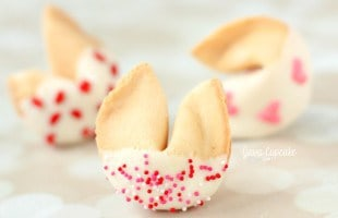 White Chocolate Dipped Valentine Fortune Cookies