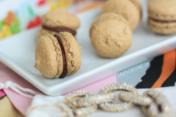 Mini Mocha Macarons | JavaCupcake.com