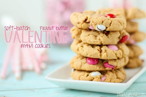 Soft-Batch Peanut Butter Valentine M&M Cookies   JavaCupcake.com