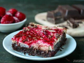 Raspberry Cheesecake Brownies | JavaCupcake.com