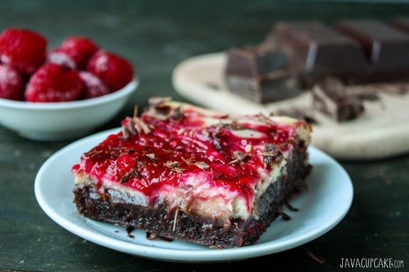 Raspberry Cheesecake Brownies | JavaCupcake.com