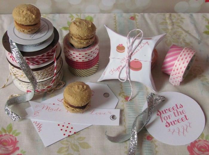 Printable Macaron Box & Valentine Tags by Glitter & Bow | JavaCupcake.com