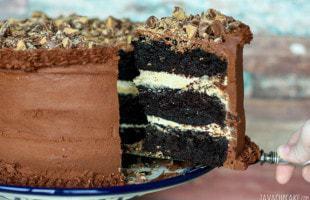 Chocolate Peanut Butter Cake | JavaCupcake.com