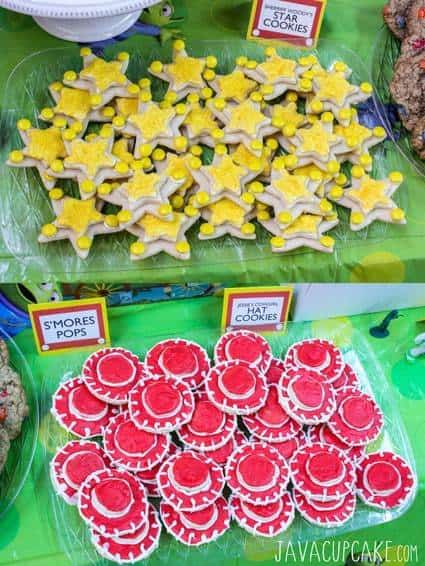 Toy Story Party: Sheriff Woody's Star & Jessie's Hat Cookies | JavaCupcake.com