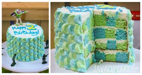 Toy Story Party Checkerboard Cake | JavaCupcake.com