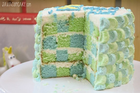 {Tutorial} Toy Story themed vanilla Checkerboard Cake frosted with vanilla buttercreaming decorated using the Petal Technique | JavaCupcake.com