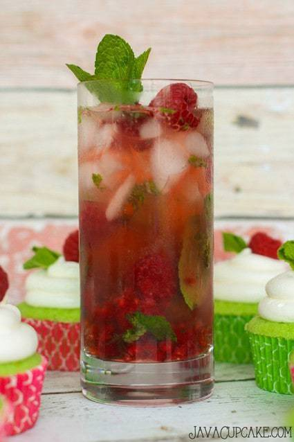 Raspberry Mojitos - Fresh lime, mint, raspberry and rum!   JavaCupcake.com