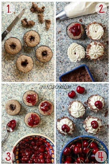 How to assemble authentic Black Forest Cupcakes | JavaCupcake.com #blackforest #germanbaking #cupcakes #recipe