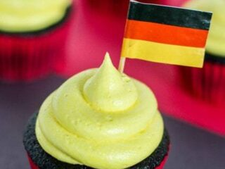 Germany Cupcakes - Black, red and yellow themed cupcakes perfect for your next German themed party! | JavaCupcake.com