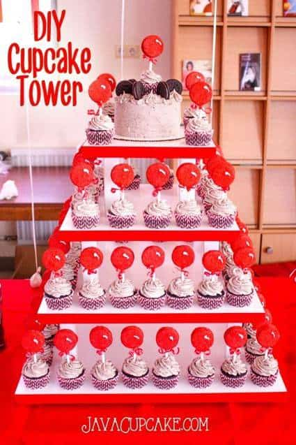 DIY Cupcake Tower - Step by step tutorial to build your own cupcake tower that holds up to 10 dozen cupcakes! | JavaCupcake.com