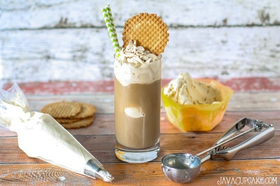 Eiskaffe - smooth vanilla gelato with cold brewed coffee topped with espresso whipped cream | JavaCupcake.com