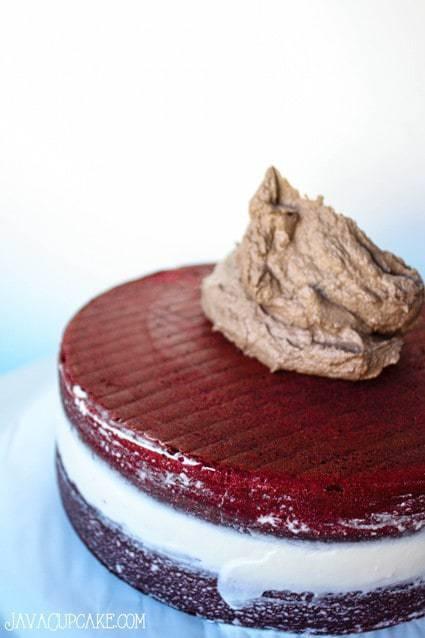 Red Velvet Mocha Macaron Cake | JavaCupcake.com