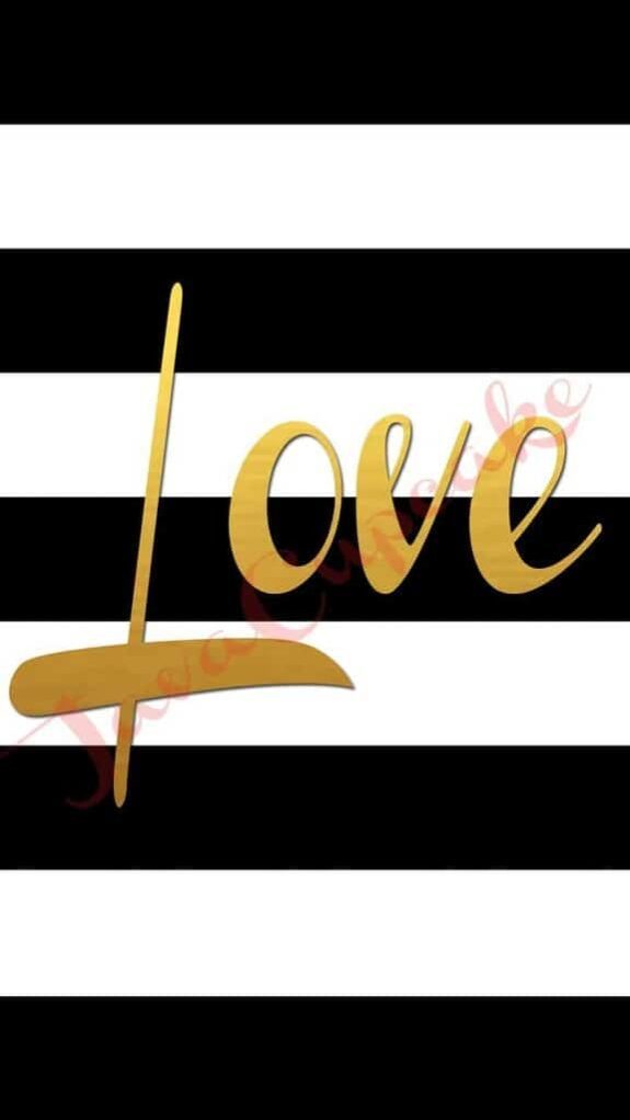 LOVE Digital Smartphone Wallpaper | JavaCupcake.com #gold #blackandwhite #stripes