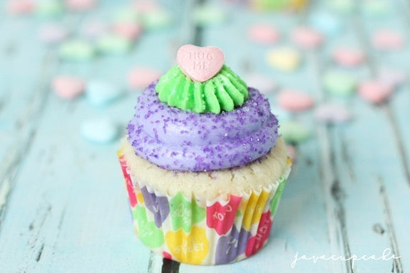 Conversation Heart Surprise-Inside Cupcakes | JavaCupcake.com