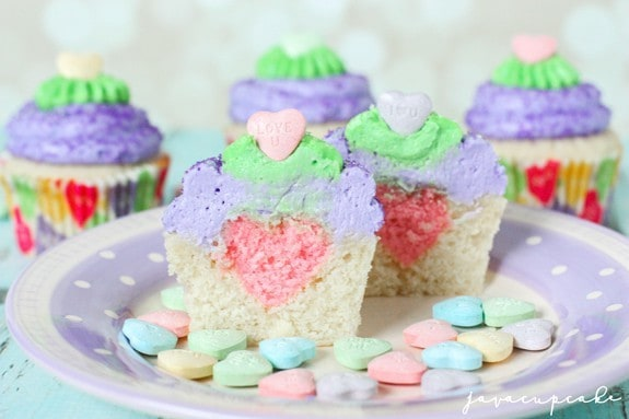 Conversation Heart Surprise-Inside Cupcakes | JavaCupcake.com