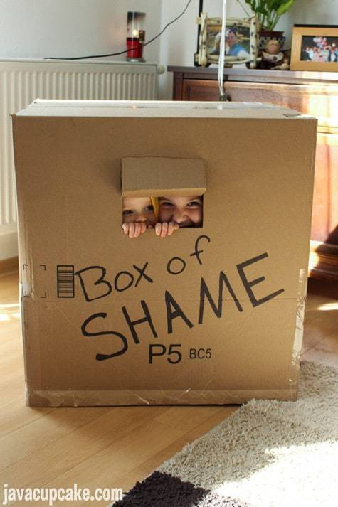 Minion Birthday Party - Box of Shame | JavaCupcake.com