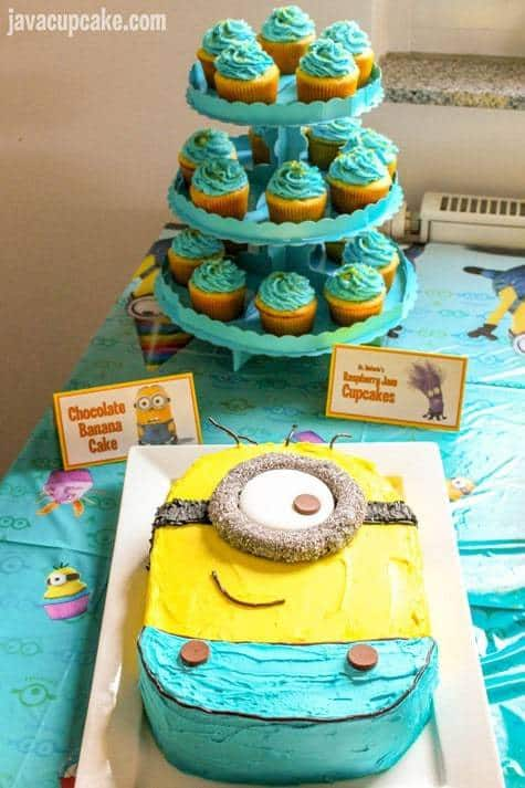 Minion Birthday Party - Minion cake & cupcakes | JavaCupcake.com