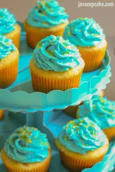 Minion Birthday Party - Minion Cupcakes with Raspberry Frosting   JavaCupcake.com